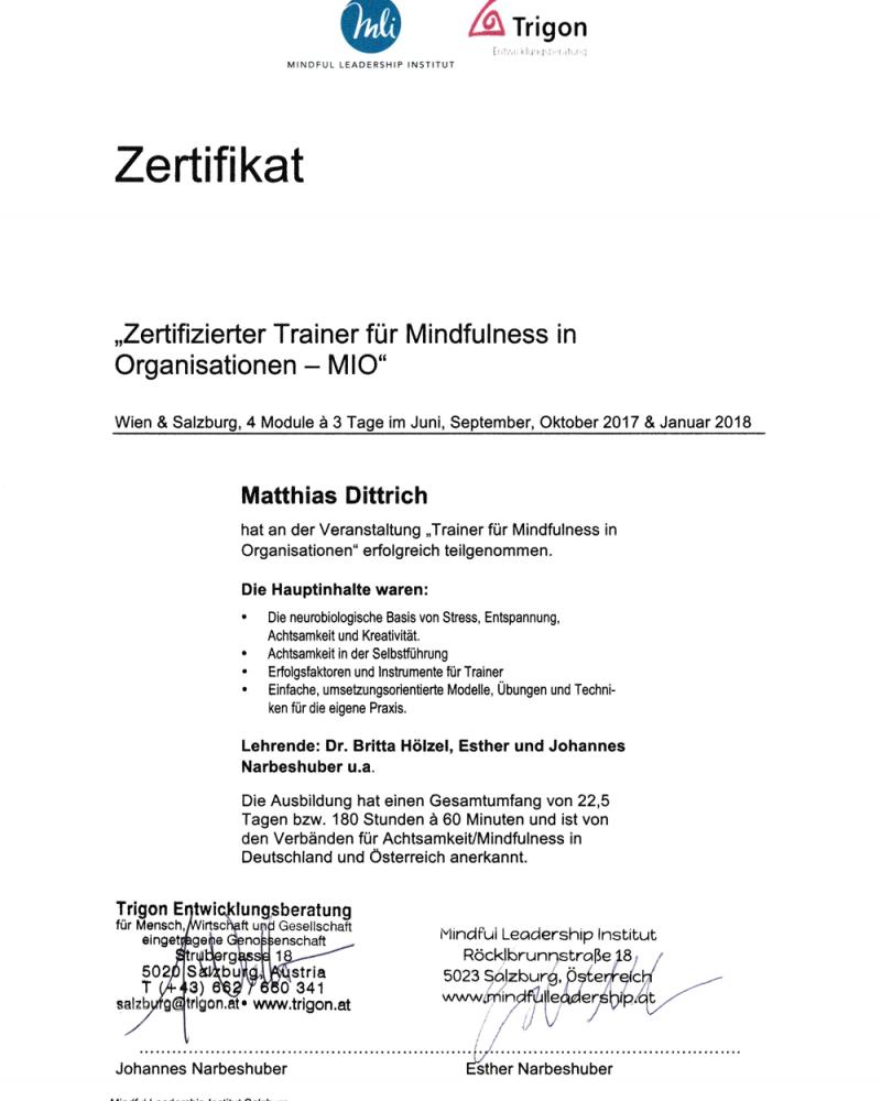 Matthias Dittrich - Trainer, Speaker und Coach - Führungskräfteentwicklung, Verkaufstrainings, Kreativitätstrainings und Mindfluness und Resilienz